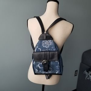 Mini backpack strappy embroidered bag purse blue